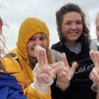 4 female students show their Laker pride